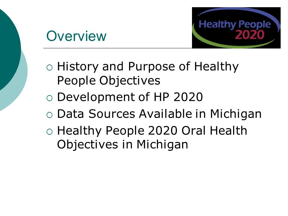Overview History and Purpose of Healthy People Objectives