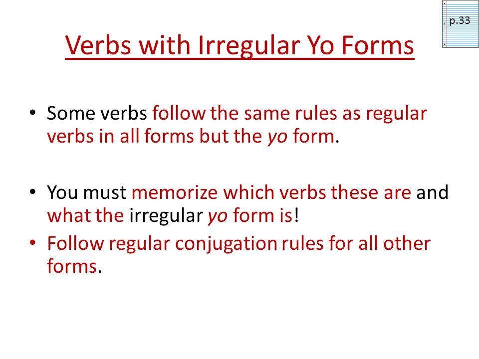 Verbs with Irregular Yo Forms