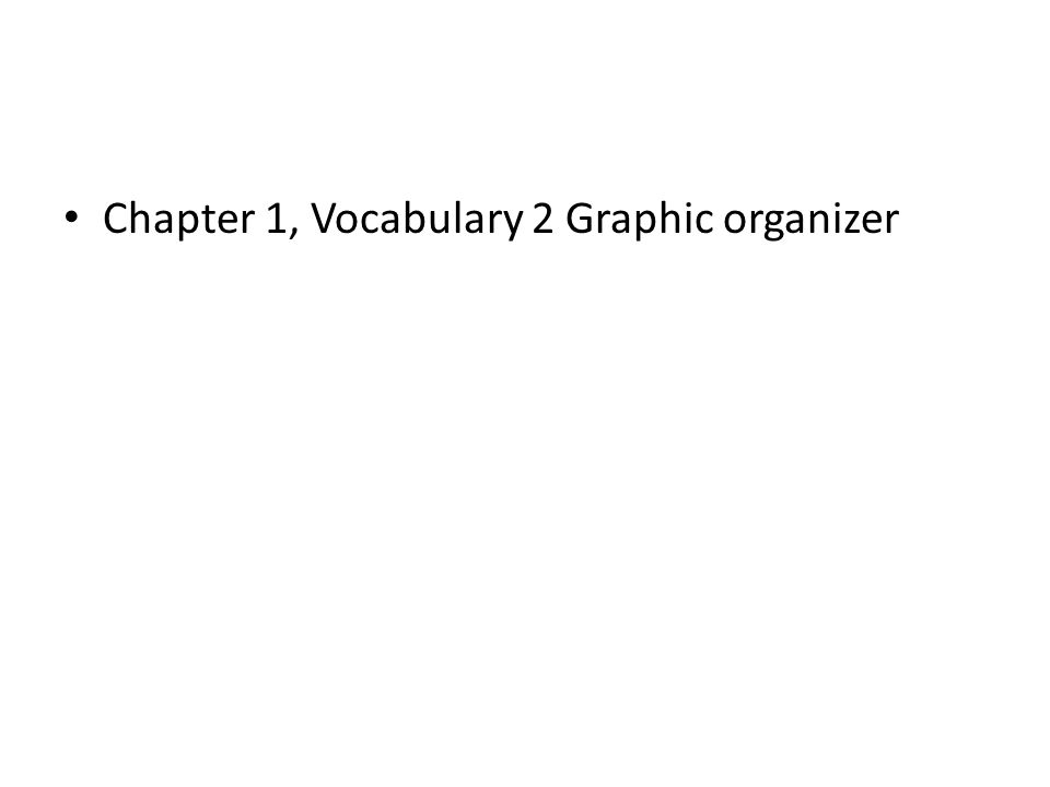 Chapter 1, Vocabulary 2 Graphic organizer