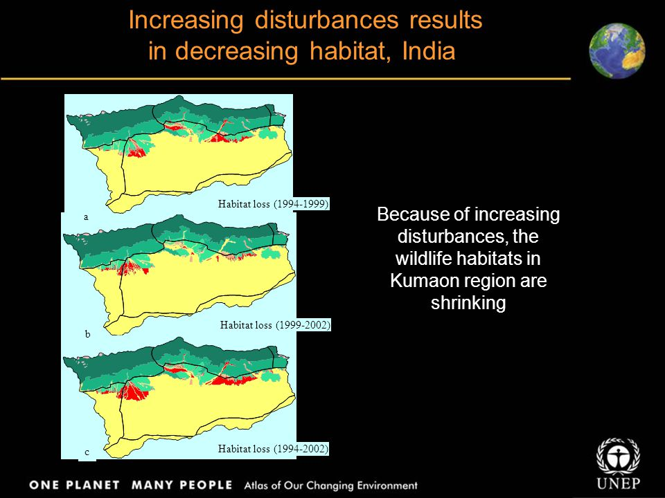 Increasing disturbances results in decreasing habitat, India