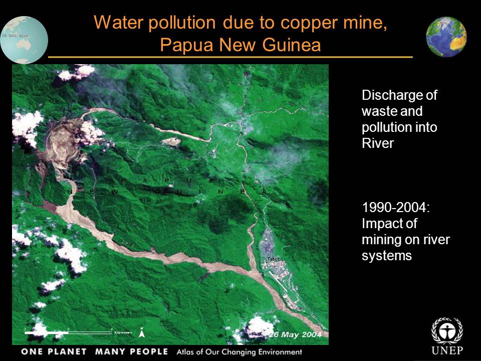 Water pollution due to copper mine, Papua New Guinea