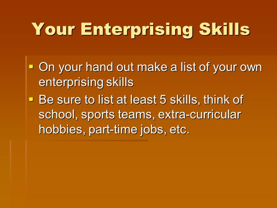 Your Enterprising Skills