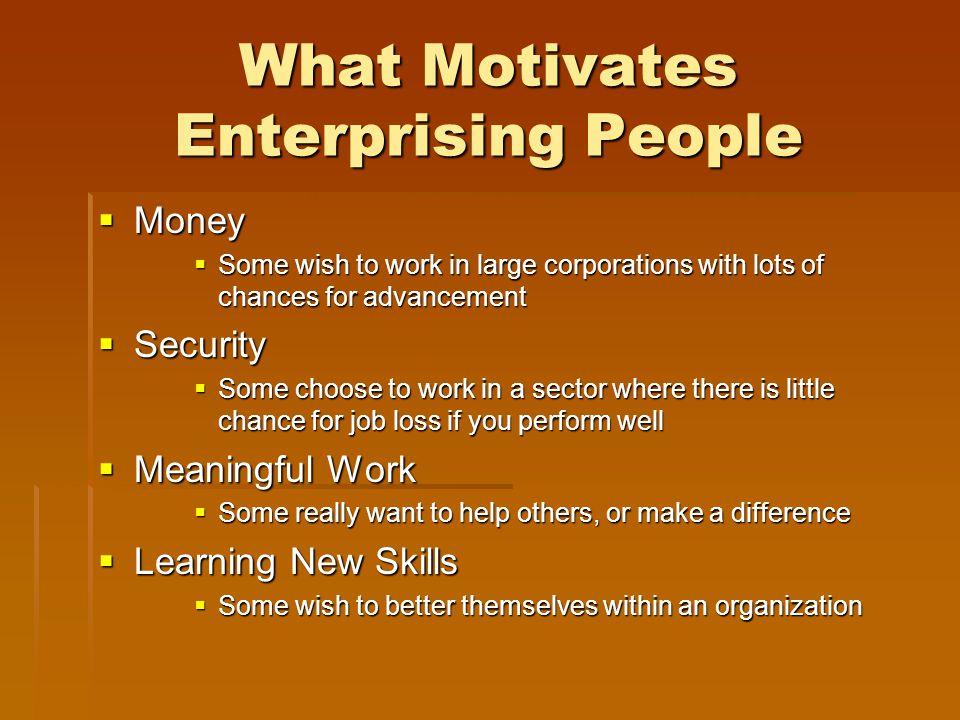 What Motivates Enterprising People
