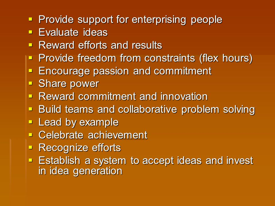 Provide support for enterprising people