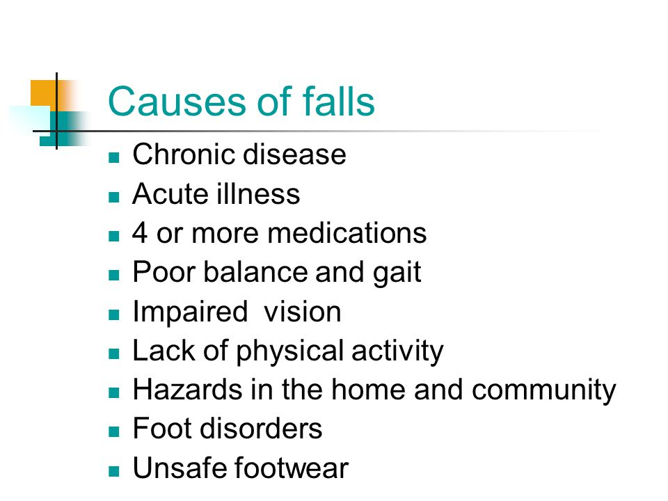 Causes of falls Chronic disease Acute illness 4 or more medications