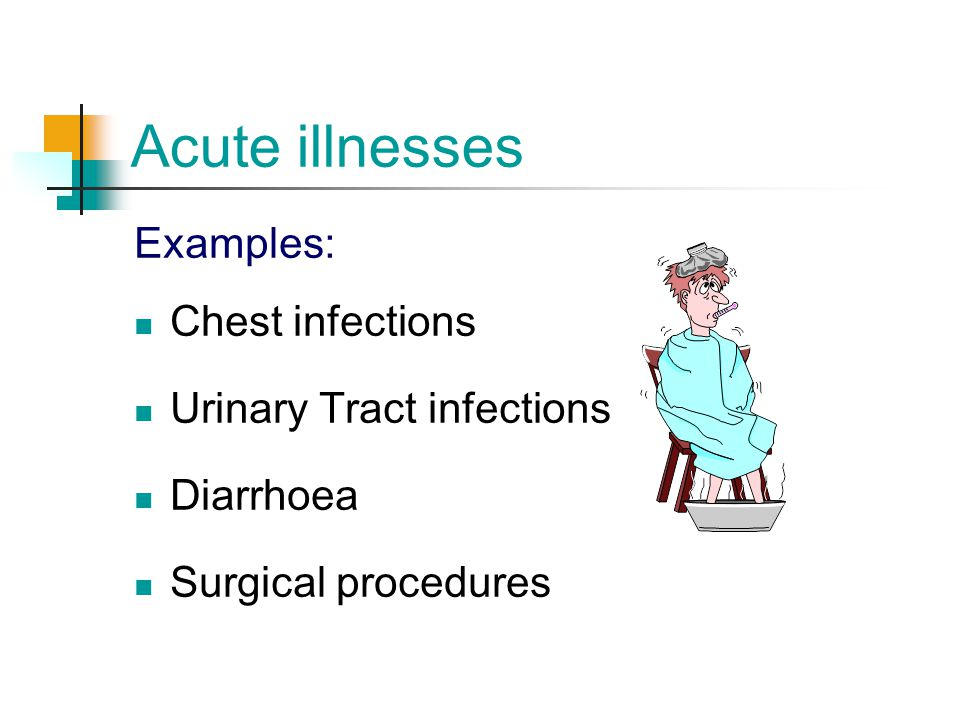 Acute illnesses Examples: Chest infections Urinary Tract infections