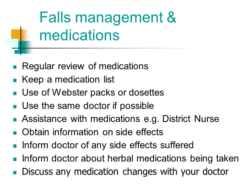 Falls management & medications