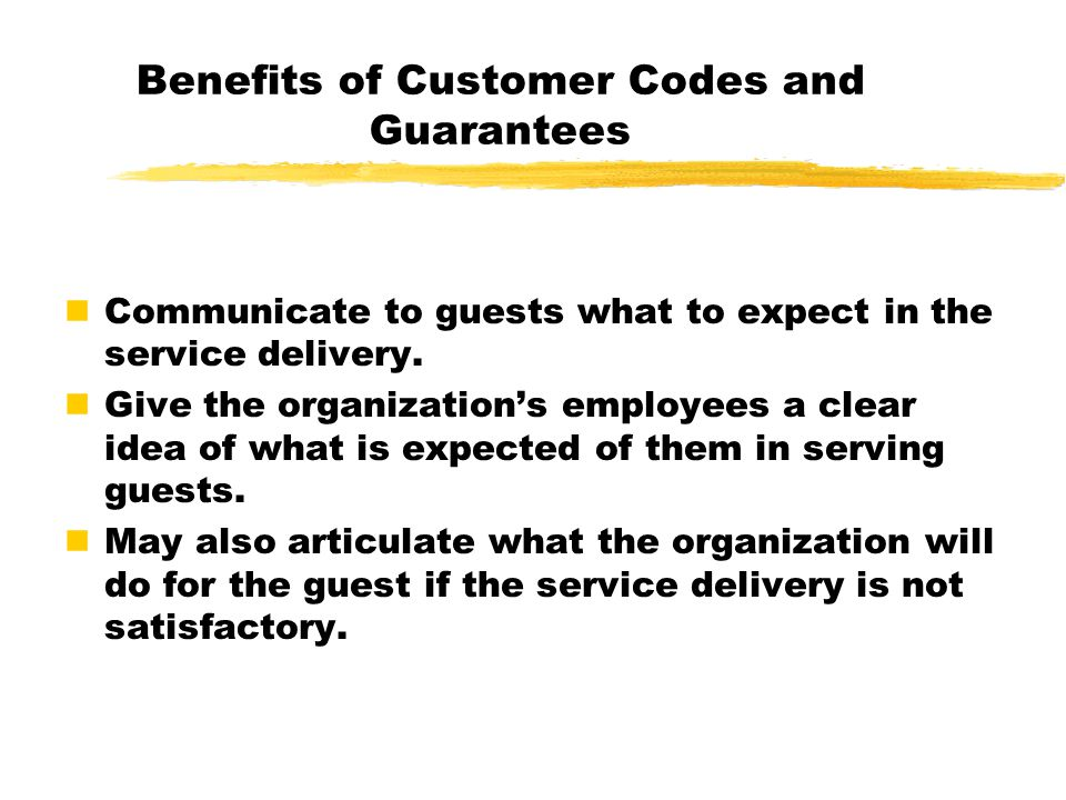Benefits of Customer Codes and Guarantees