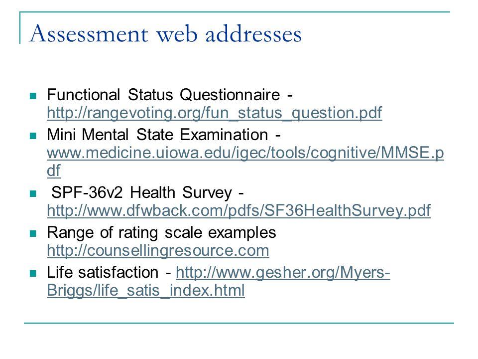 Assessment web addresses