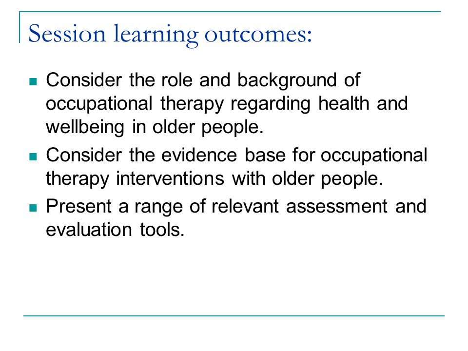 Session learning outcomes:
