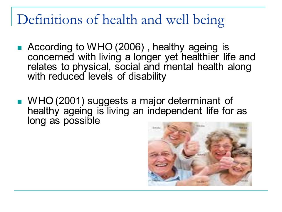 Definitions of health and well being
