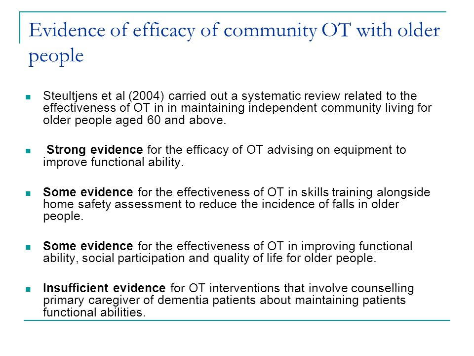 Evidence of efficacy of community OT with older people