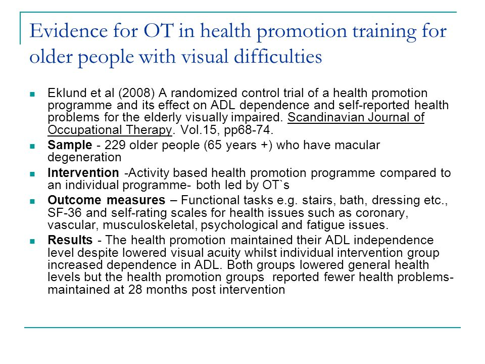Evidence for OT in health promotion training for older people with visual difficulties