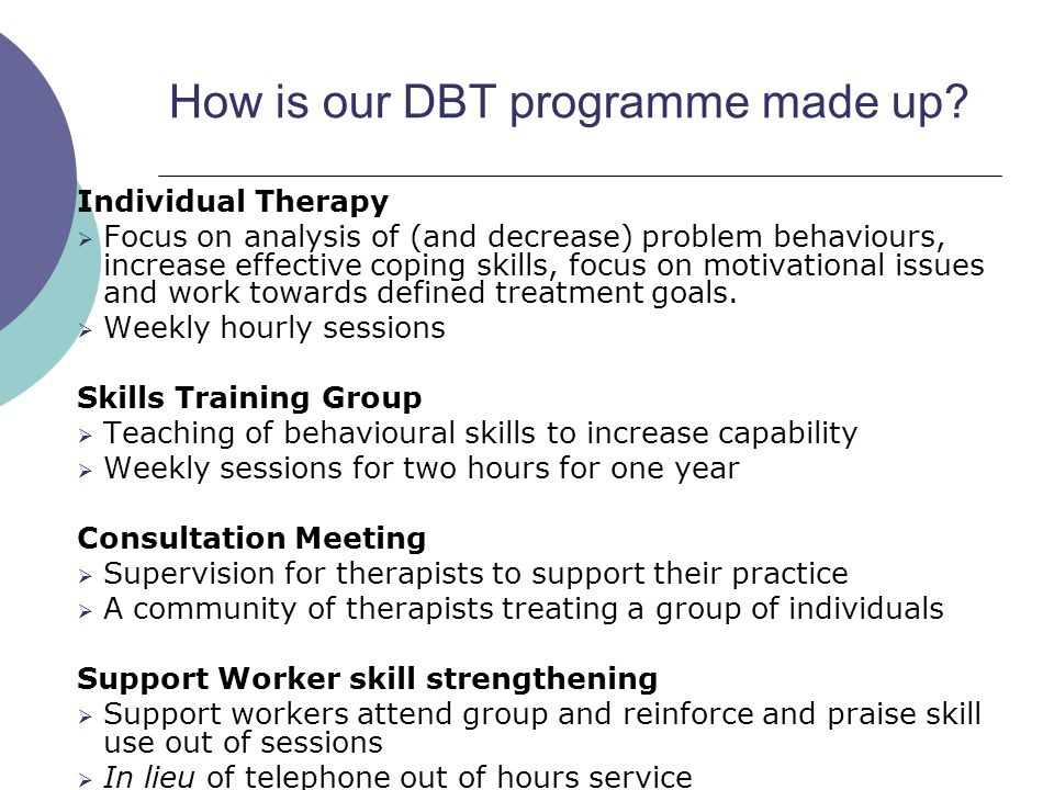 How is our DBT programme made up