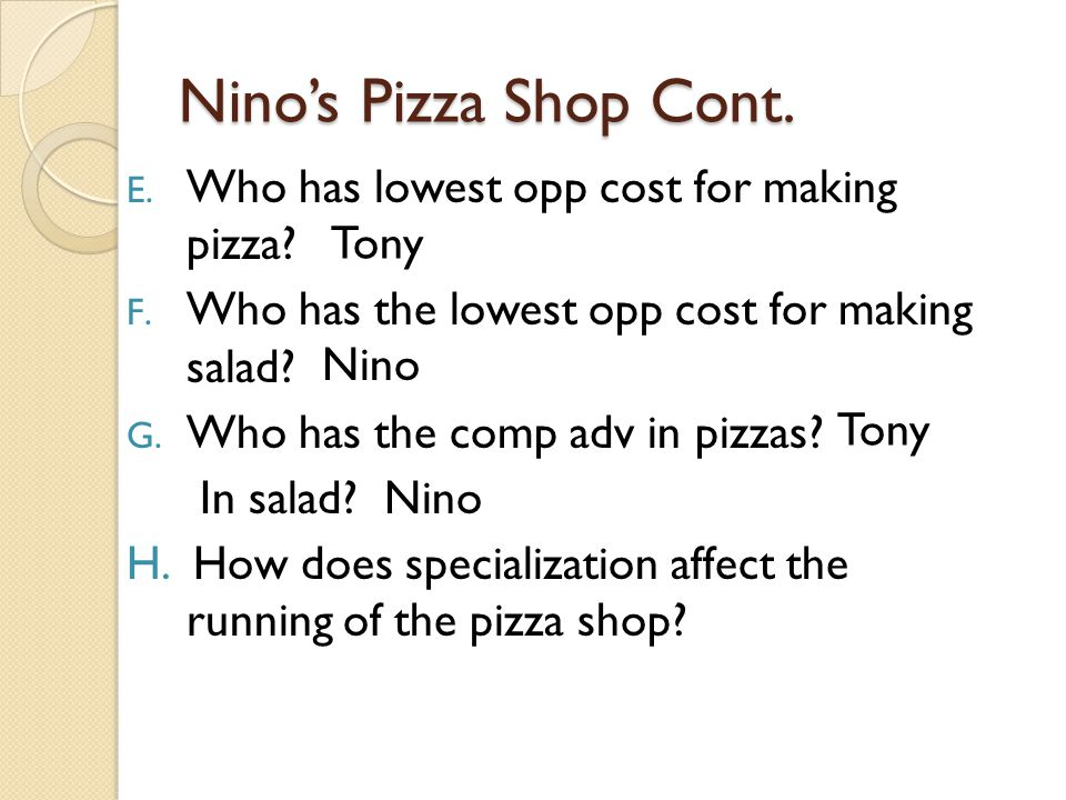 Nino's Pizza Shop Cont. Who has lowest opp cost for making pizza