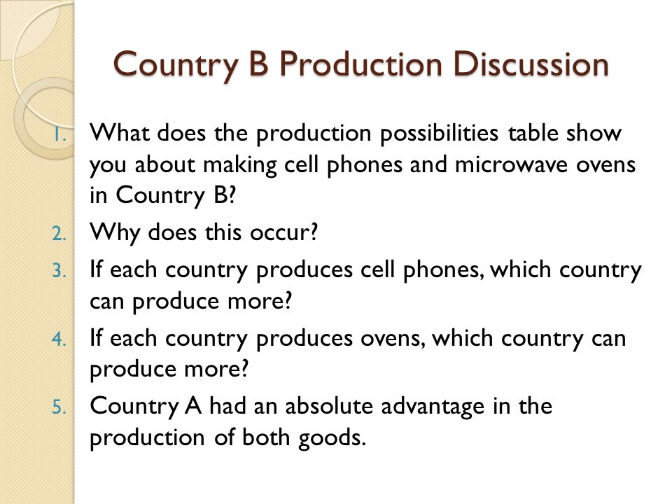 Country B Production Discussion