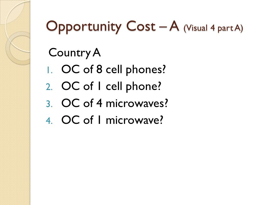 Opportunity Cost – A (Visual 4 part A)