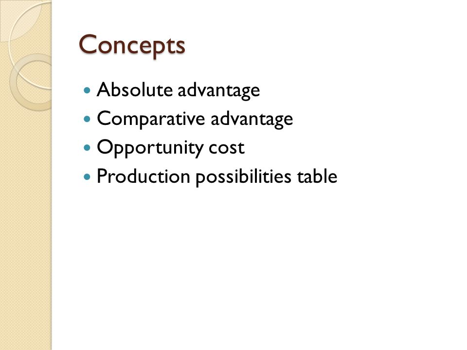 Concepts Absolute advantage Comparative advantage Opportunity cost