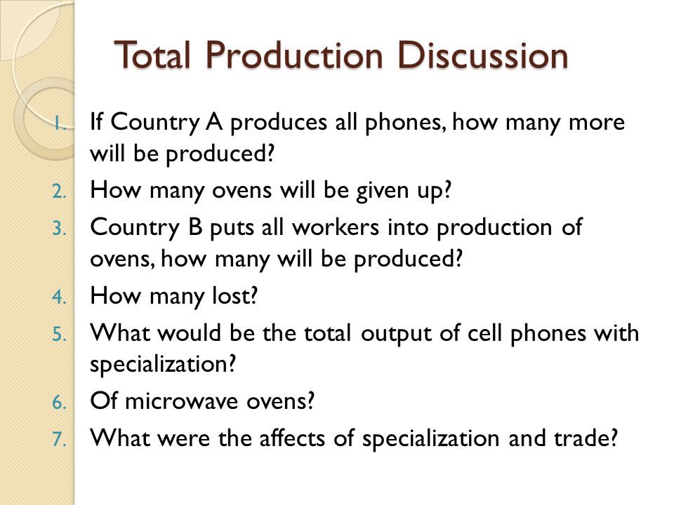 Total Production Discussion