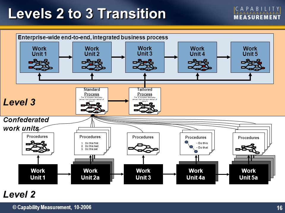Levels 2 to 3 Transition Level 3 Level 2 Confederated work units Work