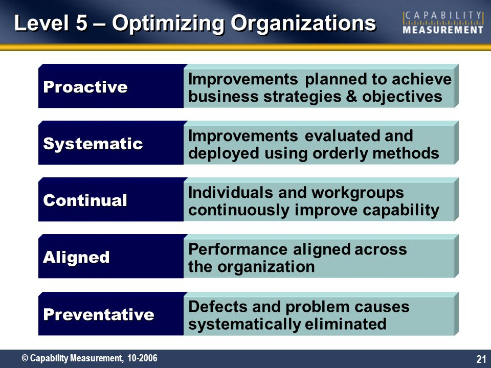 Level 5 – Optimizing Organizations