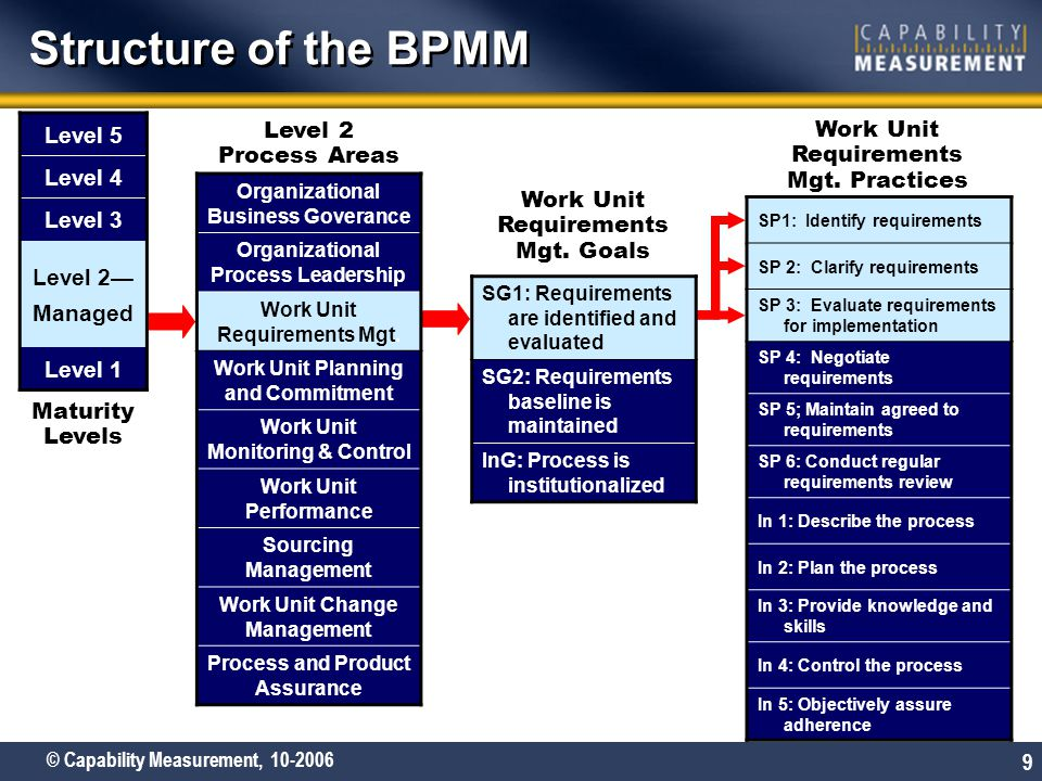 Structure of the BPMM Level 5 Level 4 Level 3 Level 2— Managed Level 2
