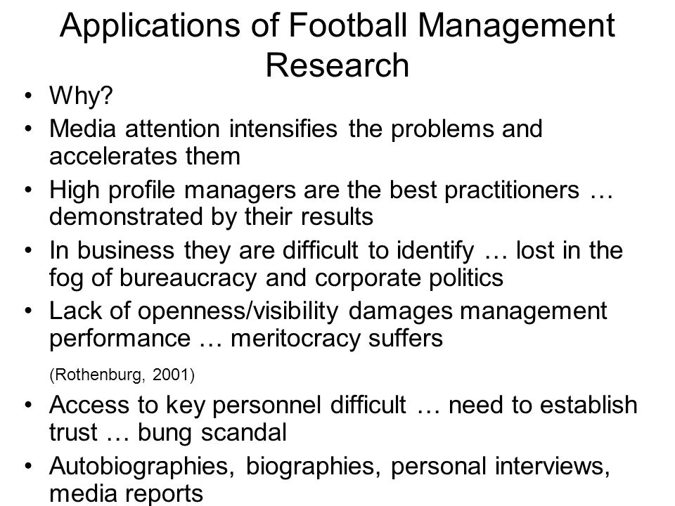 Applications of Football Management Research