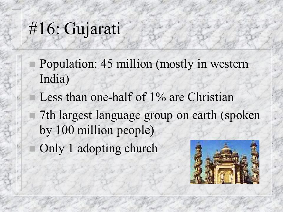 #16: Gujarati Population: 45 million (mostly in western India)