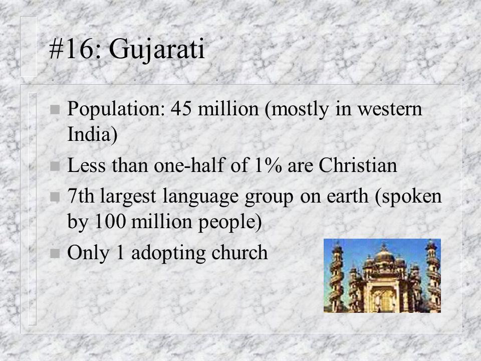 #16: Gujarati Population: 45 million (mostly in western India)