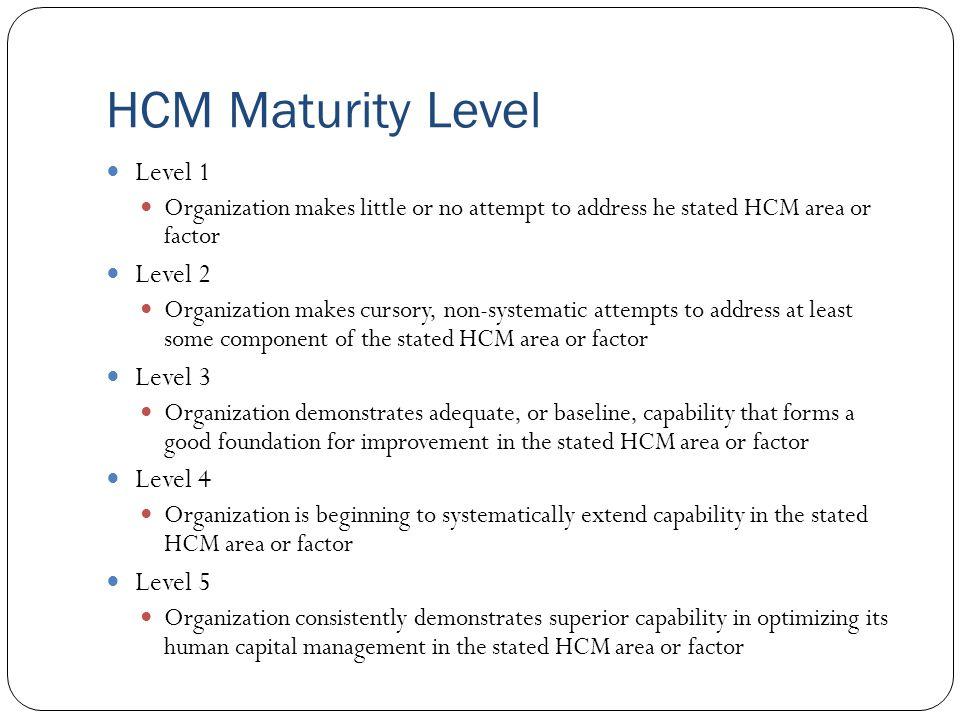 HCM Maturity Level Level 1 Level 2 Level 3 Level 4 Level 5