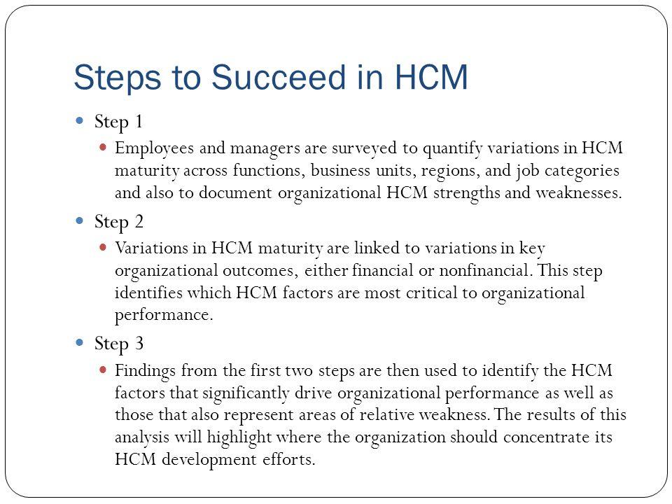 Steps to Succeed in HCM Step 1 Step 2 Step 3