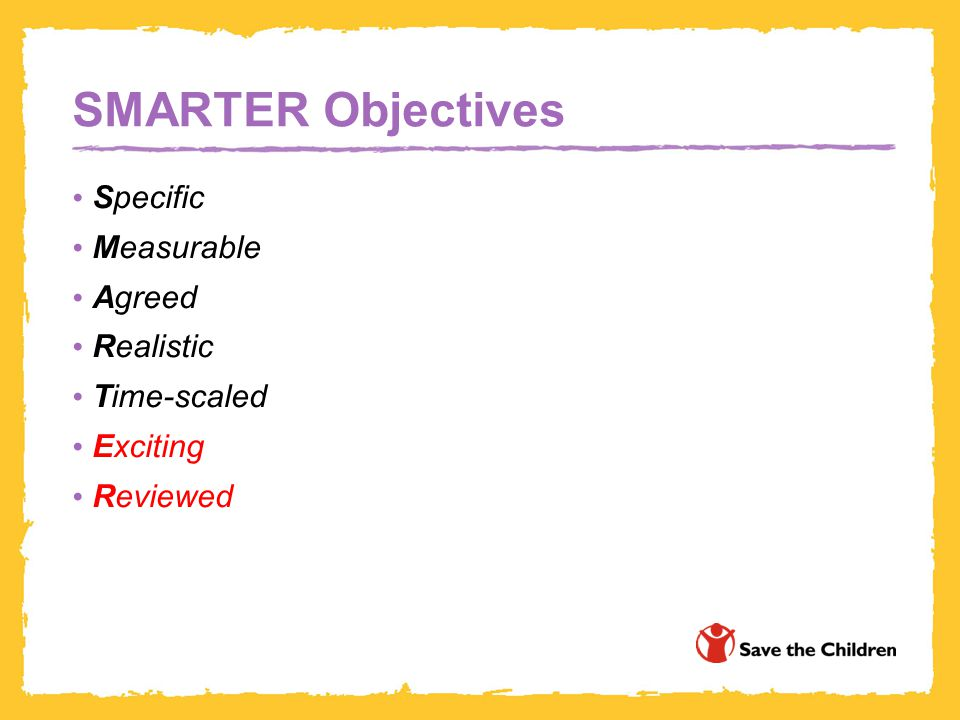 SMARTER Objectives Specific Measurable Agreed Realistic Time-scaled