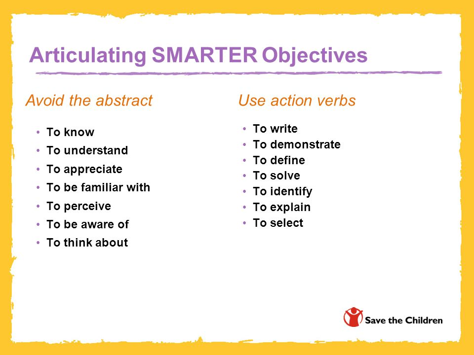 Articulating SMARTER Objectives