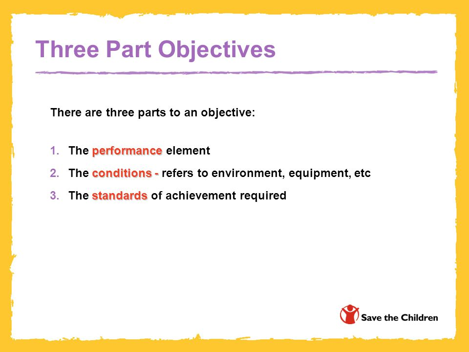 Three Part Objectives There are three parts to an objective: