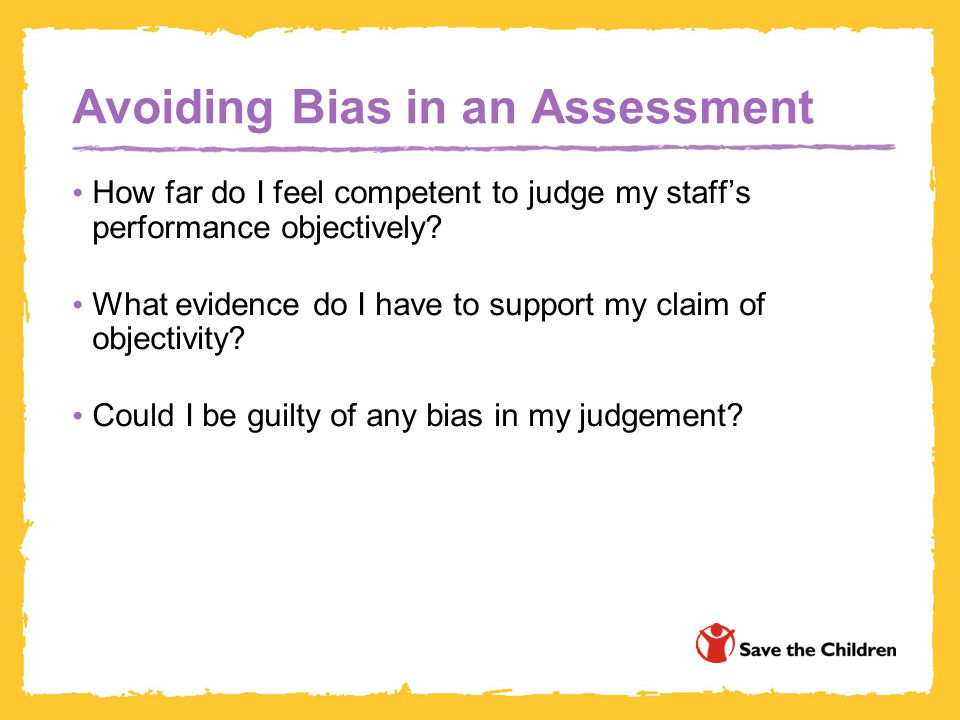 Avoiding Bias in an Assessment