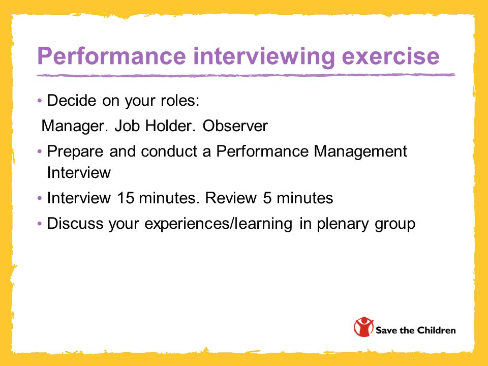 Performance interviewing exercise