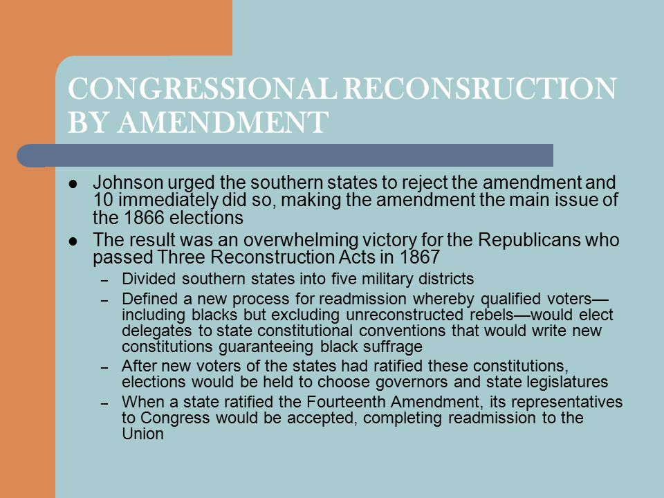 CONGRESSIONAL RECONSRUCTION BY AMENDMENT