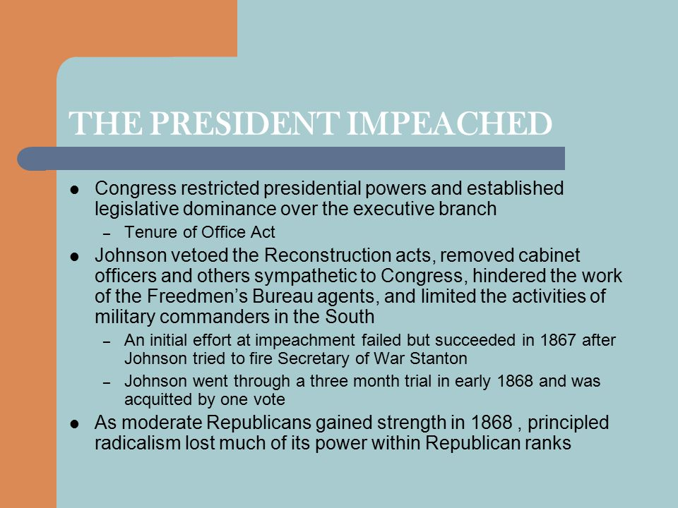 THE PRESIDENT IMPEACHED