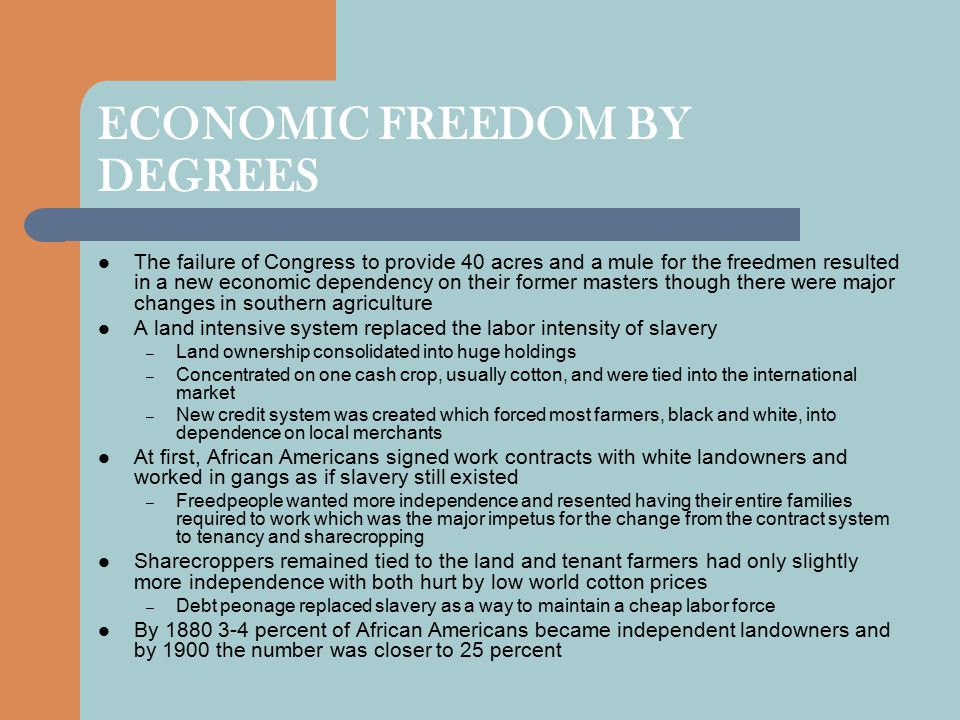 ECONOMIC FREEDOM BY DEGREES