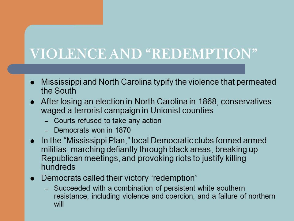 VIOLENCE AND REDEMPTION