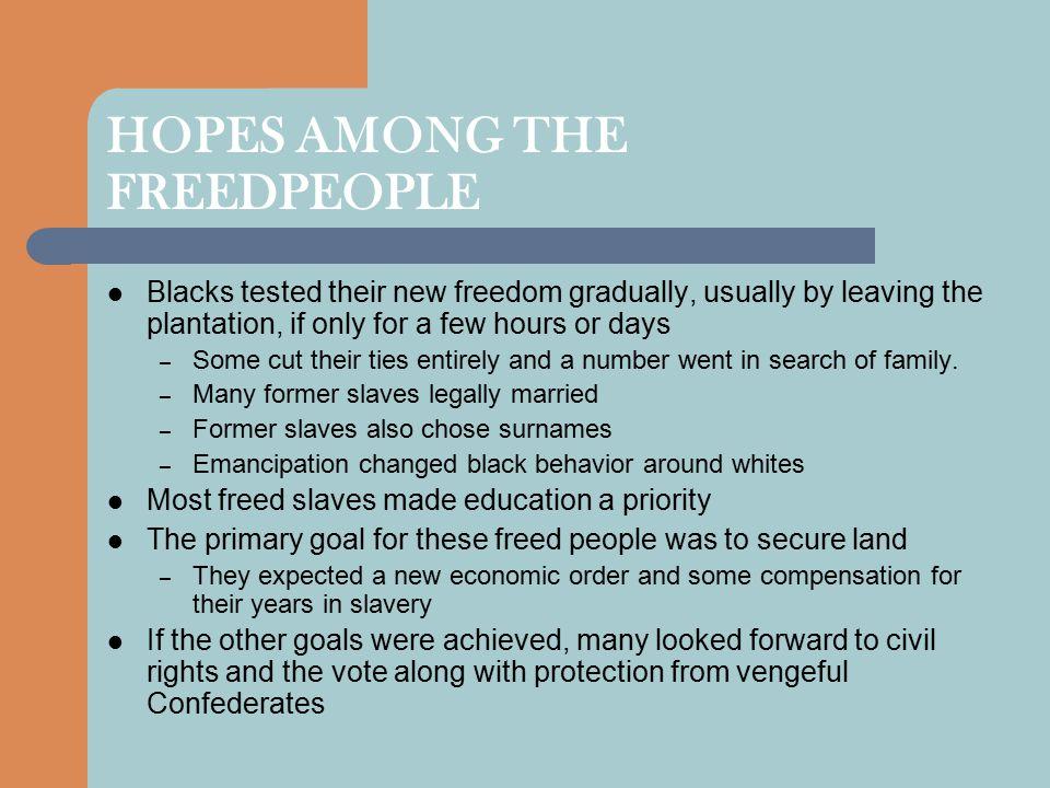 HOPES AMONG THE FREEDPEOPLE