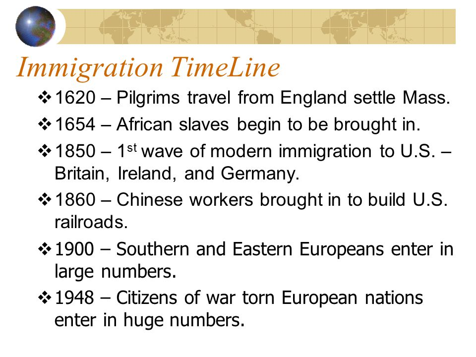 Immigration TimeLine 1620 – Pilgrims travel from England settle Mass.