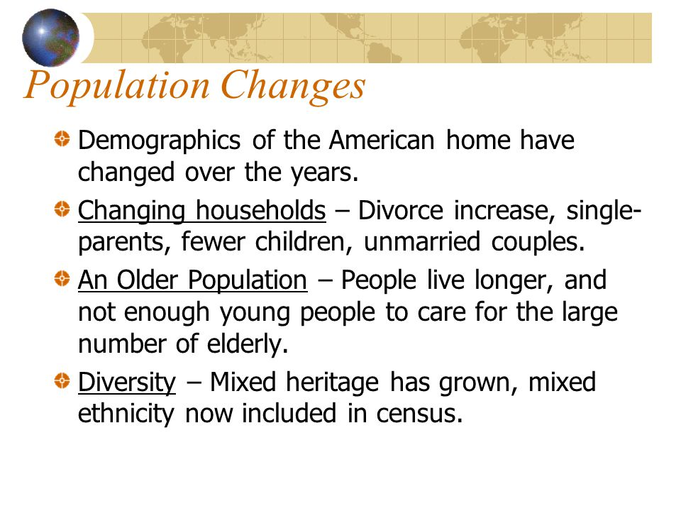Population Changes Demographics of the American home have changed over the years.