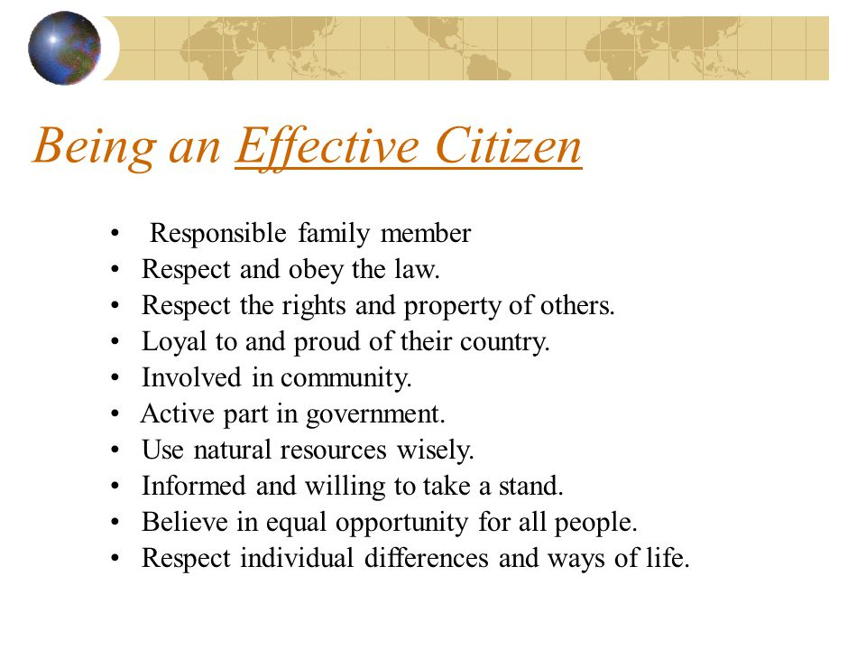 Being an Effective Citizen