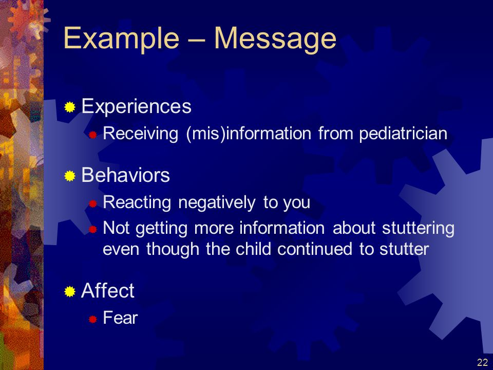 Example – Message Experiences Behaviors Affect