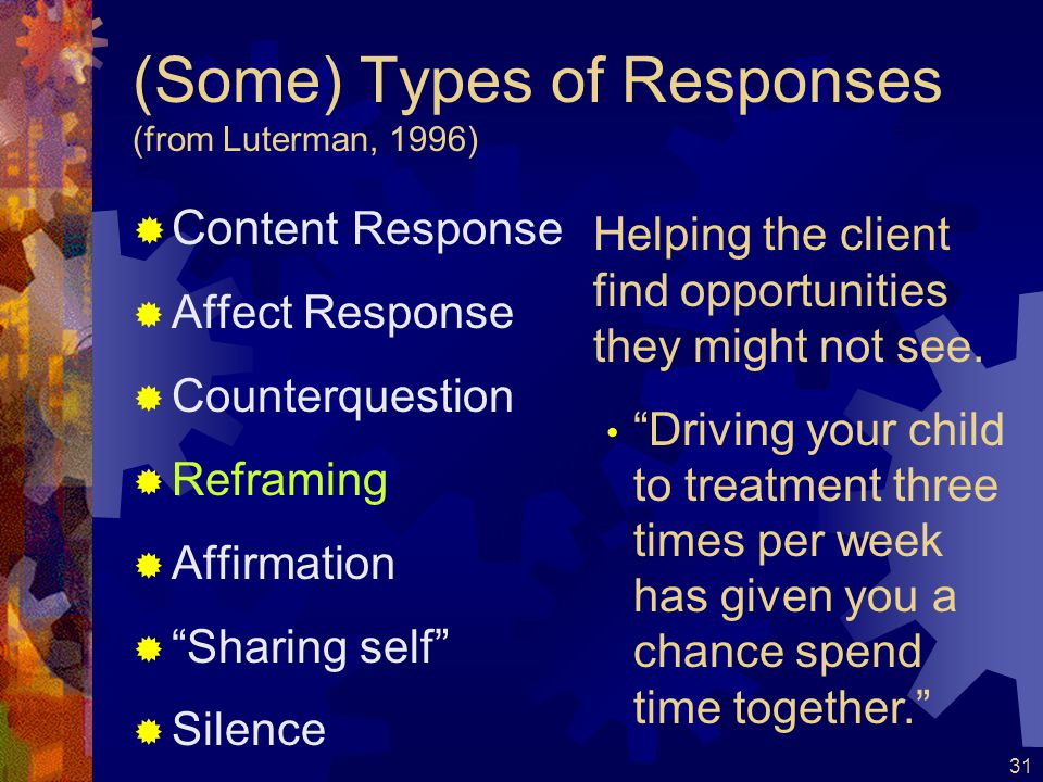 (Some) Types of Responses (from Luterman, 1996)