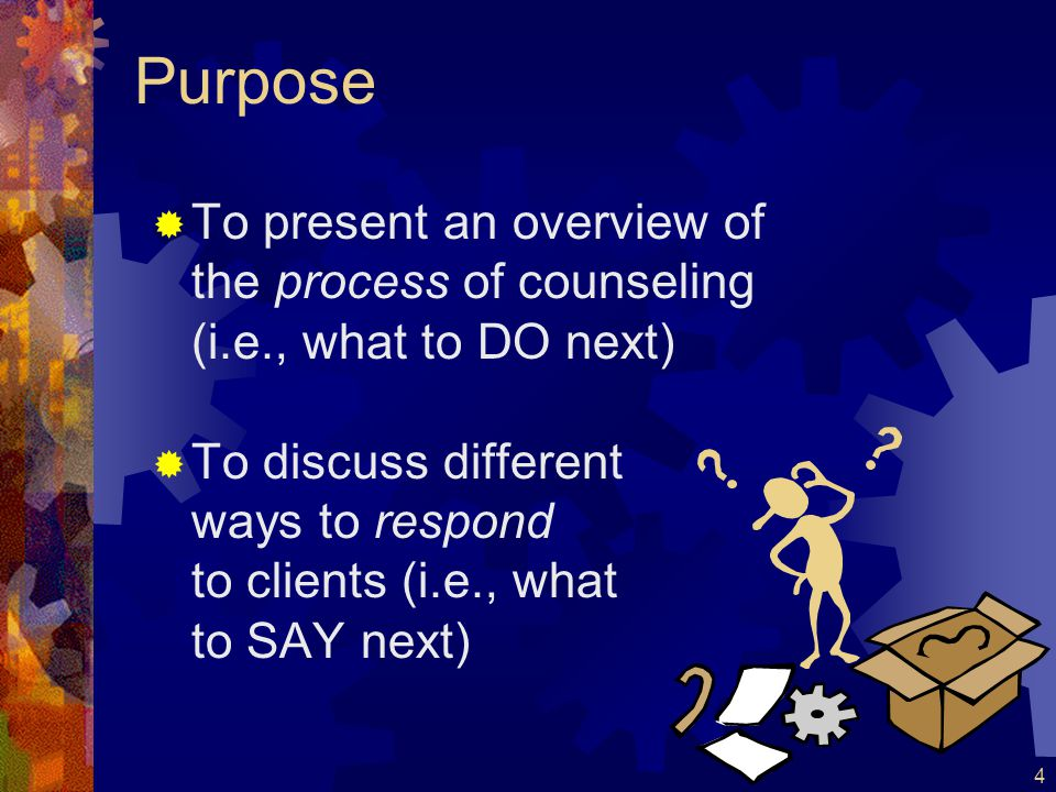 Purpose To present an overview of the process of counseling (i.e., what to DO next)