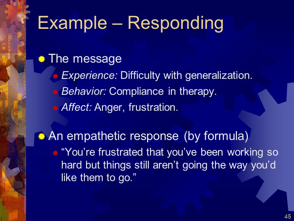 Example – Responding The message An empathetic response (by formula)