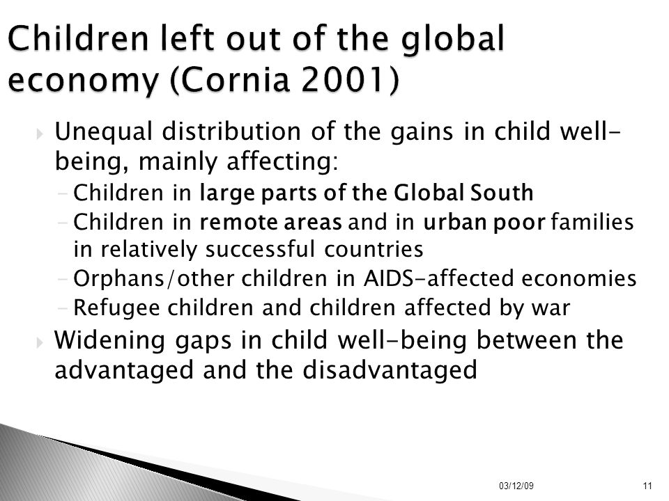 Children left out of the global economy (Cornia 2001)