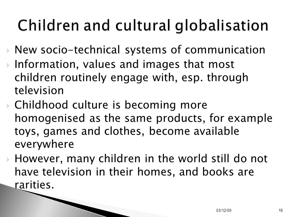 Children and cultural globalisation